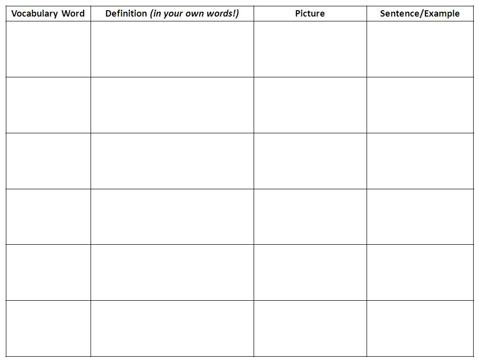 Teaching Real Science – Blank Vocabulary Worksheet
